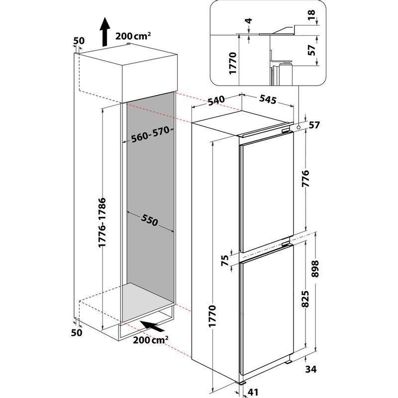 Indesit-Fridge-Freezer-Built-in-E-IB-15050-A1-D.UK-1-White-2-doors-Technical-drawing