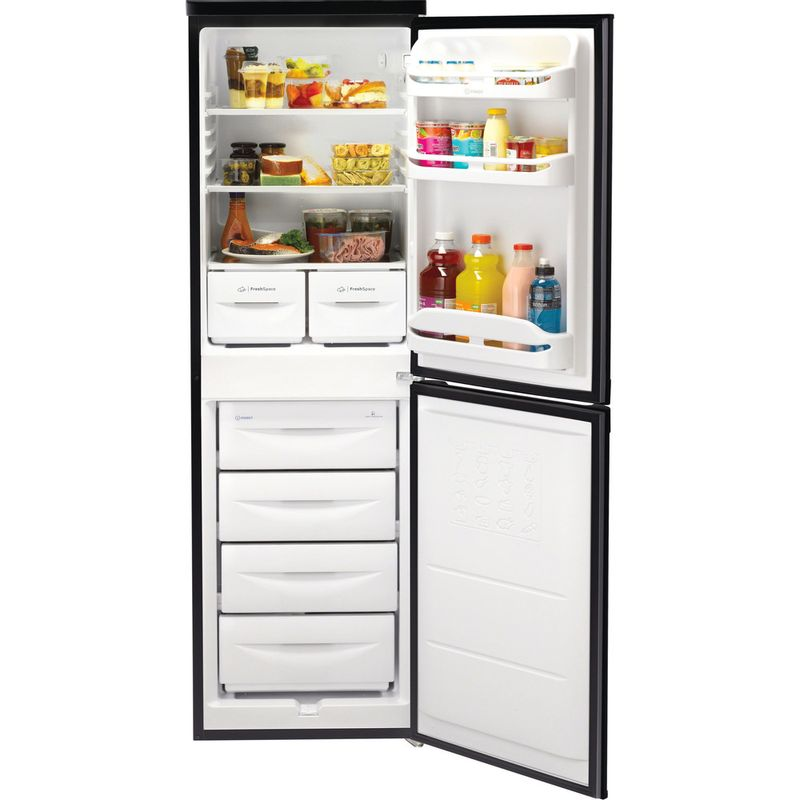 Indesit-Fridge-Freezer-Free-standing-IBD-5517-B-UK-1-Black-2-doors-Frontal-open