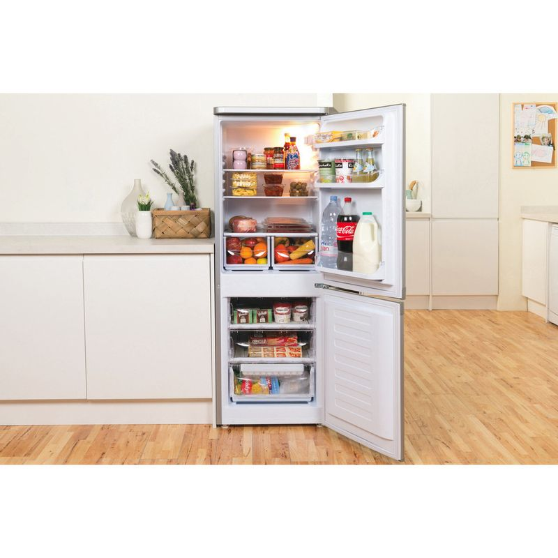 Indesit-Fridge-Freezer-Free-standing-IBD-5515-S-1-Silver-2-doors-Lifestyle-frontal-open