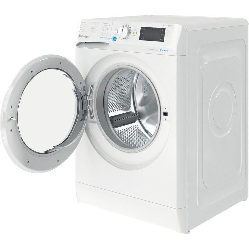 Indesit-Washing-machine-Free-standing-BWE-91484X-W-UK-N-White-Front-loader-C-Perspective-open