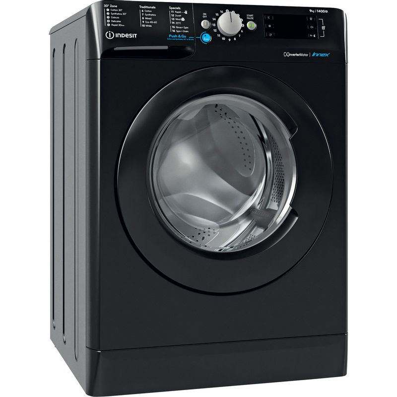 Indesit-Washing-machine-Free-standing-BWE-91483X-K-UK-N-Black-Front-loader-D-Perspective