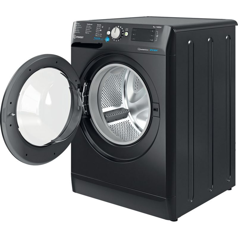 Indesit-Washing-machine-Free-standing-BWE-91483X-K-UK-N-Black-Front-loader-D-Perspective-open
