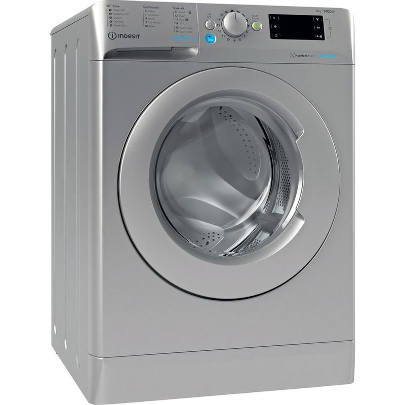 Indesit-Washing-machine-Free-standing-BWE-91483X-S-UK-N-Silver-Front-loader-D-Perspective