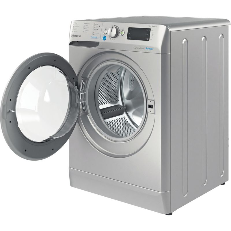 Indesit-Washing-machine-Free-standing-BWE-91483X-S-UK-N-Silver-Front-loader-D-Perspective-open