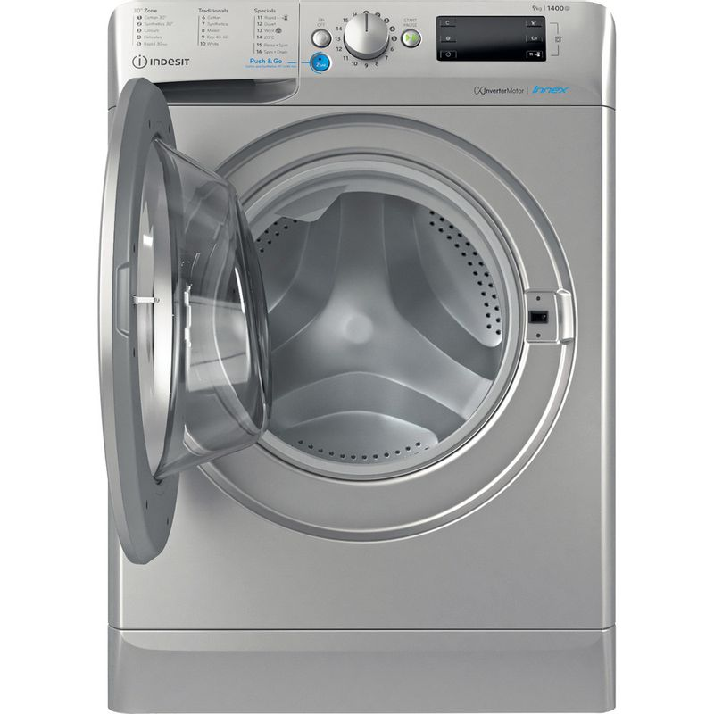 Indesit-Washing-machine-Free-standing-BWE-91483X-S-UK-N-Silver-Front-loader-D-Frontal-open
