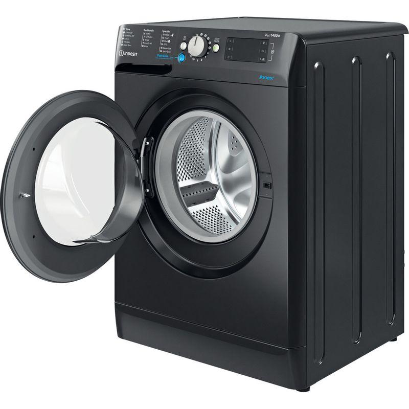 Indesit-Washing-machine-Free-standing-BWE-71452-K-UK-N-Black-Front-loader-E-Perspective-open