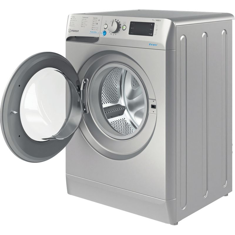 Indesit-Washing-machine-Free-standing-BWE-71452-S-UK-N-Silver-Front-loader-E-Perspective-open