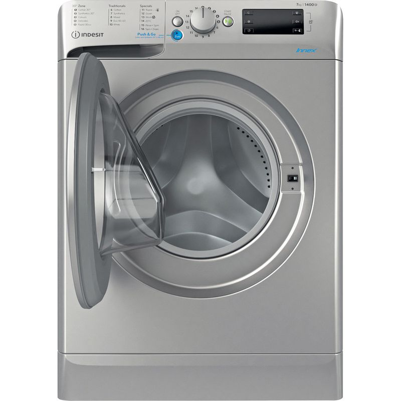 Indesit-Washing-machine-Free-standing-BWE-71452-S-UK-N-Silver-Front-loader-E-Frontal-open