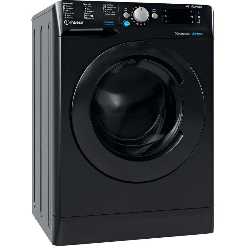 Indesit-Washer-dryer-Free-standing-BDE-861483X-K-UK-N-Black-Front-loader-Perspective