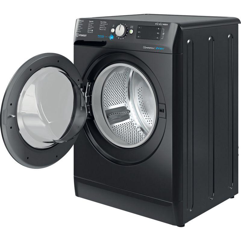 Indesit-Washer-dryer-Free-standing-BDE-861483X-K-UK-N-Black-Front-loader-Perspective-open