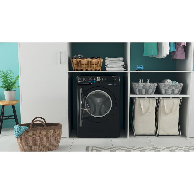 Indesit-Washer-dryer-Free-standing-BDE-861483X-K-UK-N-Black-Front-loader-Lifestyle-frontal-open