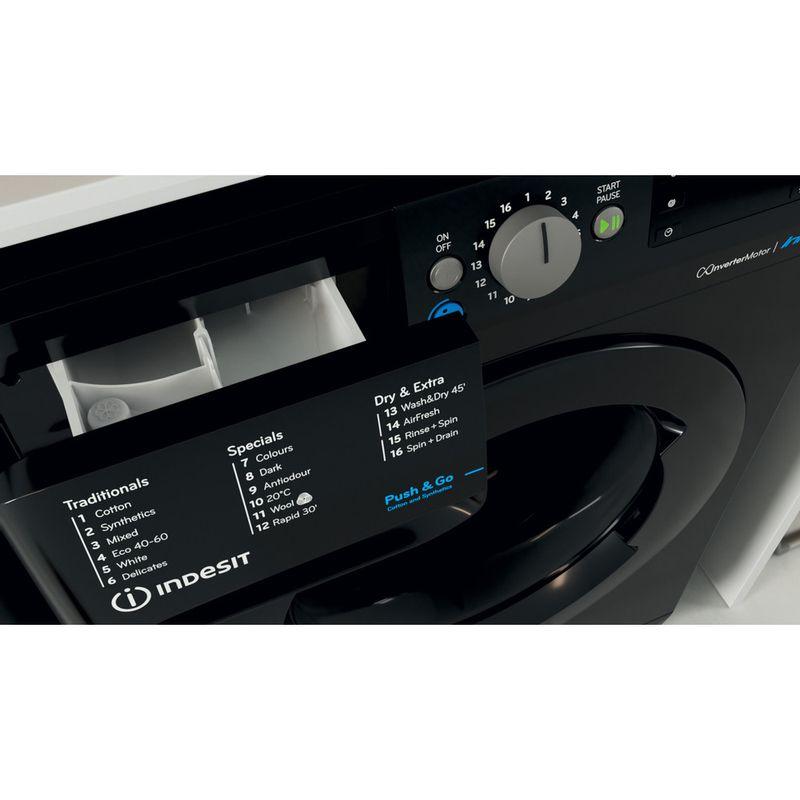 Indesit-Washer-dryer-Free-standing-BDE-861483X-K-UK-N-Black-Front-loader-Drawer