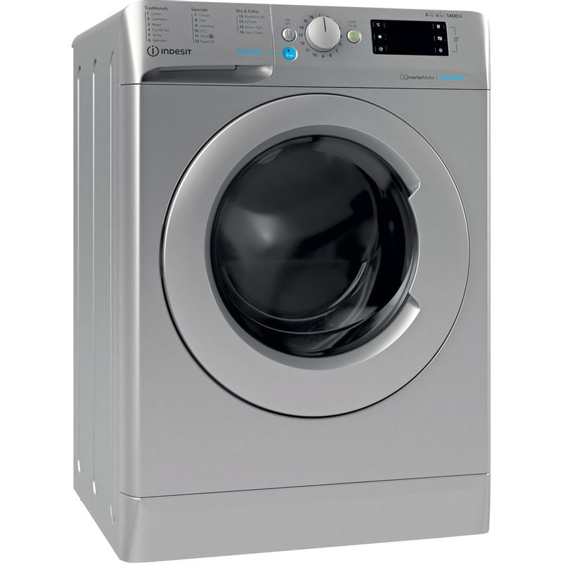 Indesit-Washer-dryer-Free-standing-BDE-861483X-S-UK-N-Silver-Front-loader-Perspective