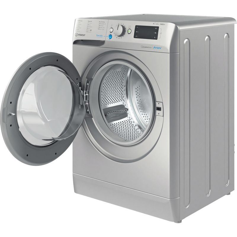 Indesit-Washer-dryer-Free-standing-BDE-861483X-S-UK-N-Silver-Front-loader-Perspective-open