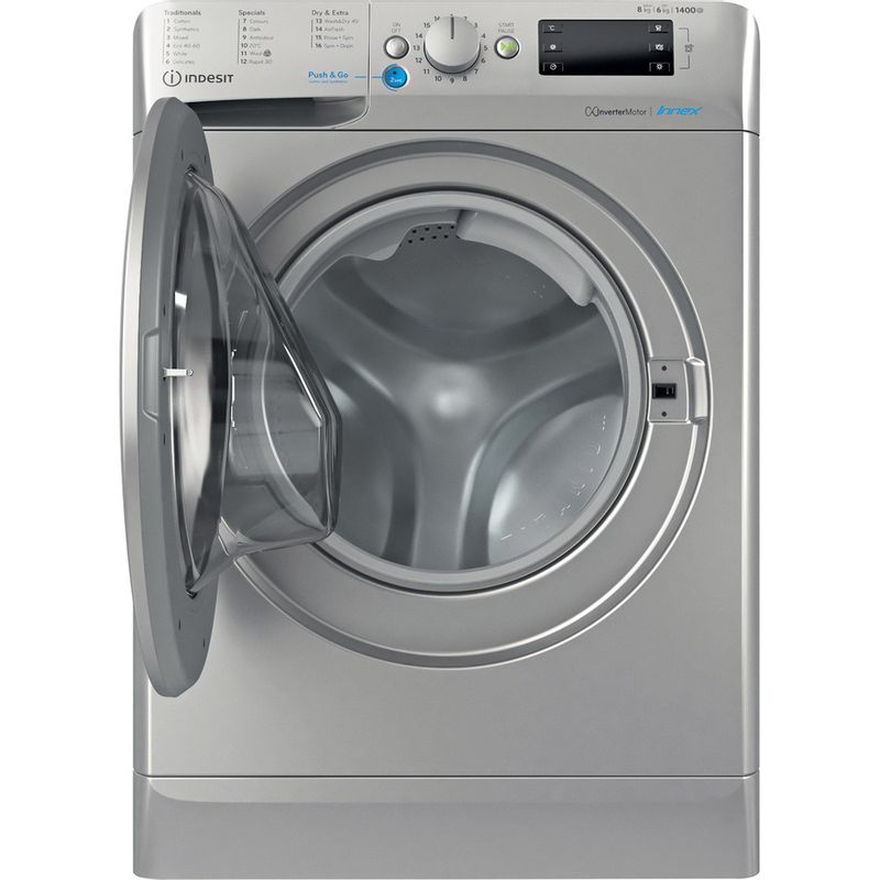 Indesit-Washer-dryer-Free-standing-BDE-861483X-S-UK-N-Silver-Front-loader-Frontal-open