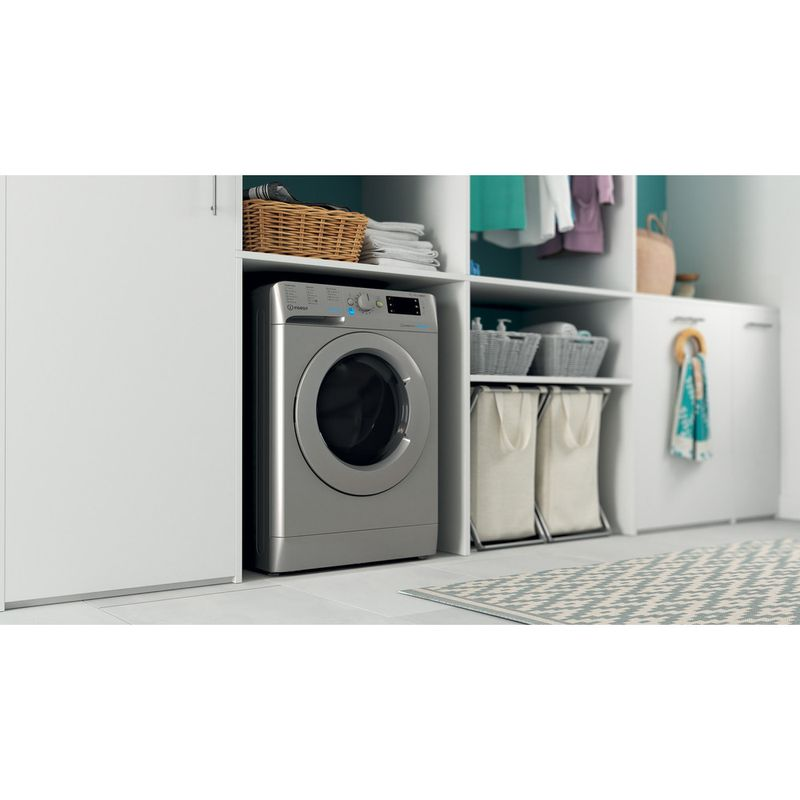 Indesit-Washer-dryer-Free-standing-BDE-861483X-S-UK-N-Silver-Front-loader-Lifestyle-perspective