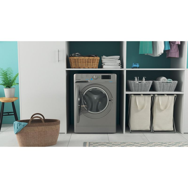 Indesit-Washer-dryer-Free-standing-BDE-861483X-S-UK-N-Silver-Front-loader-Lifestyle-frontal-open