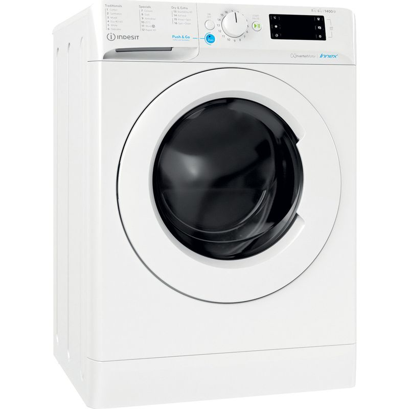 Indesit-Washer-dryer-Free-standing-BDE-861483X-W-UK-N-White-Front-loader-Perspective