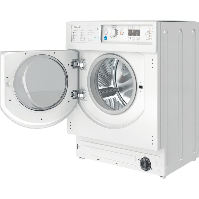 Indesit-Washer-dryer-Built-in-BI-WDIL-75125-UK-N-White-Front-loader-Perspective-open