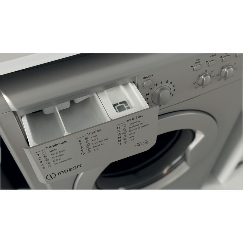 Indesit-Washer-dryer-Free-standing-IWDC-65125-S-UK-N-Silver-Front-loader-Drawer