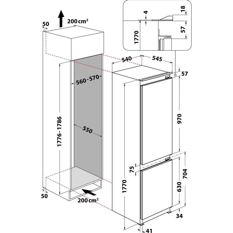 Indesit-Fridge-Freezer-Built-in-IB-7030-A1-D.UK-1-White-2-doors-Technical-drawing
