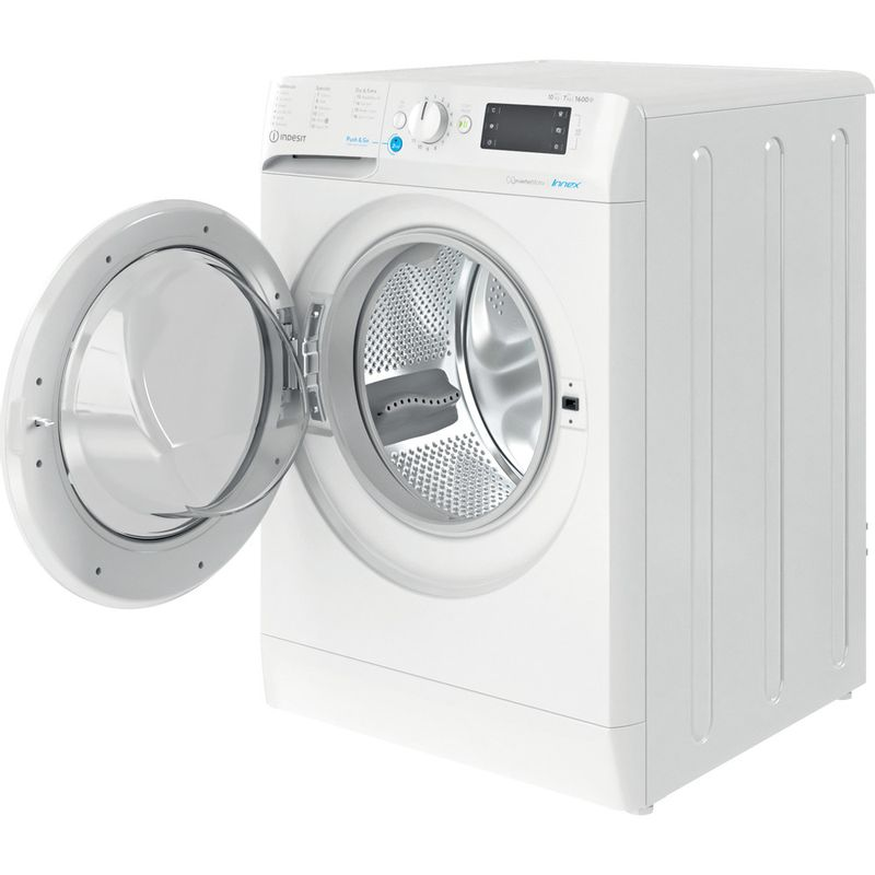 Indesit-Washer-dryer-Free-standing-BDE-1071682X-W-UK-N-White-Front-loader-Perspective-open