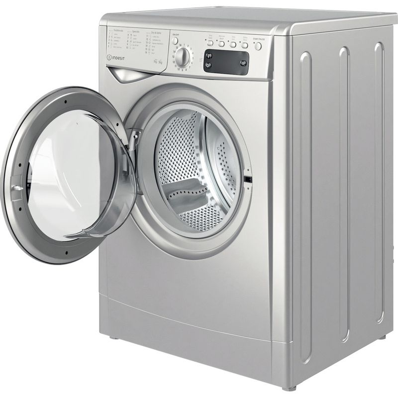 Indesit-Washer-dryer-Free-standing-IWDD-75145-S-UK-N-Silver-Front-loader-Perspective-open