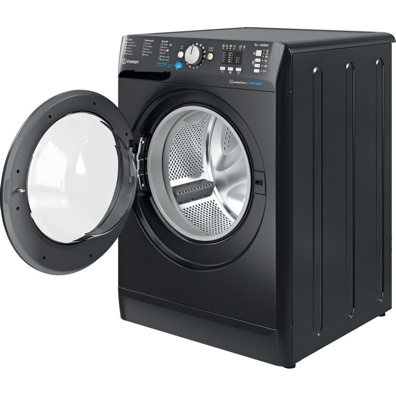 Indesit-Washing-machine-Free-standing-BWA-81683X-K-UK-N-Black-Front-loader-D-Perspective-open