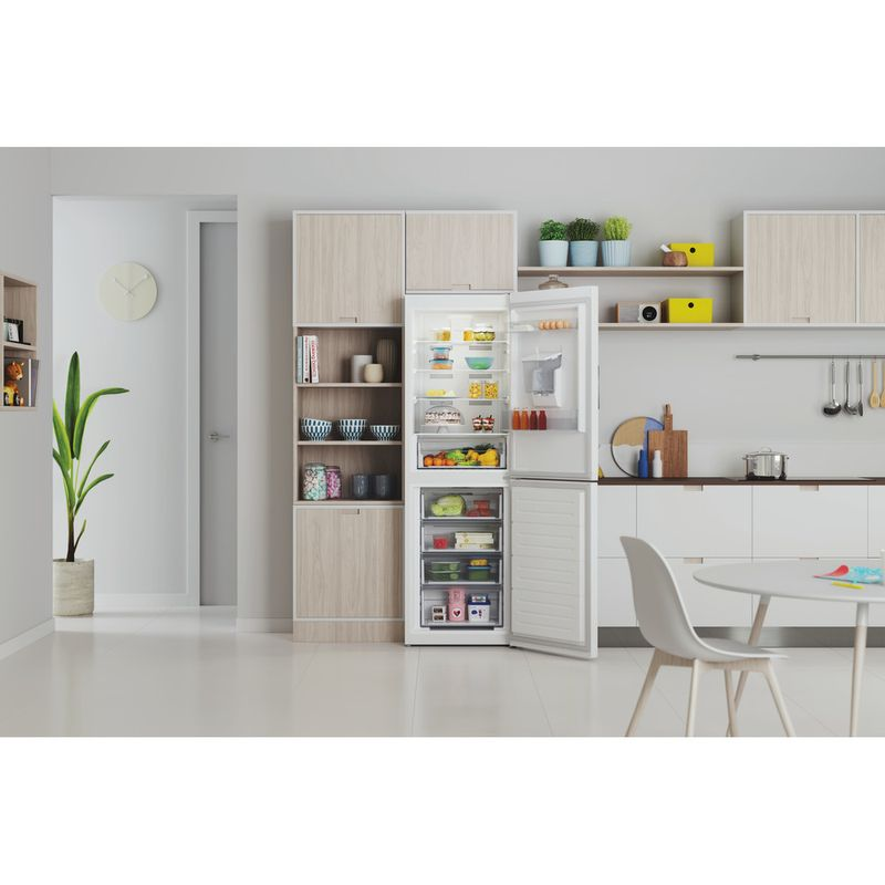 Indesit-Fridge-Freezer-Free-standing-INFC8-50TI1-W-AQUA-1-White-2-doors-Lifestyle-frontal-open
