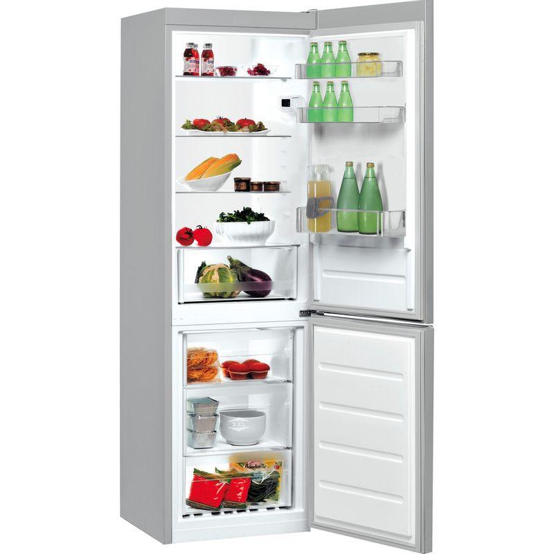 Indesit-Fridge-Freezer-Free-standing-LI8-S1E-S-UK-Silver-2-doors-Perspective-open