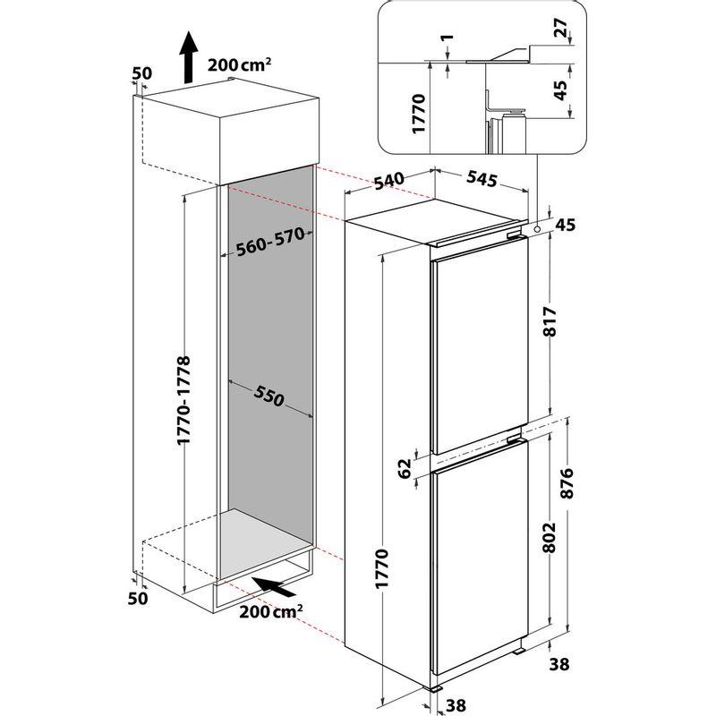 Indesit-Fridge-Freezer-Built-in-IBC18-5050-F1-White-2-doors-Technical-drawing