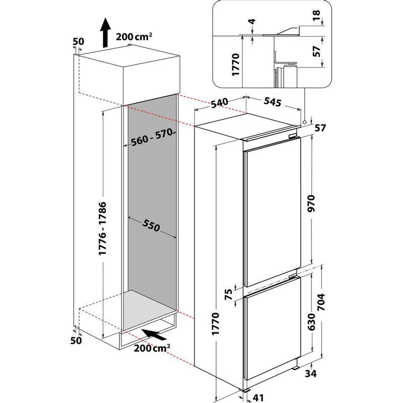 Indesit-Fridge-Freezer-Built-in-INC18-T311-UK-White-2-doors-Technical-drawing