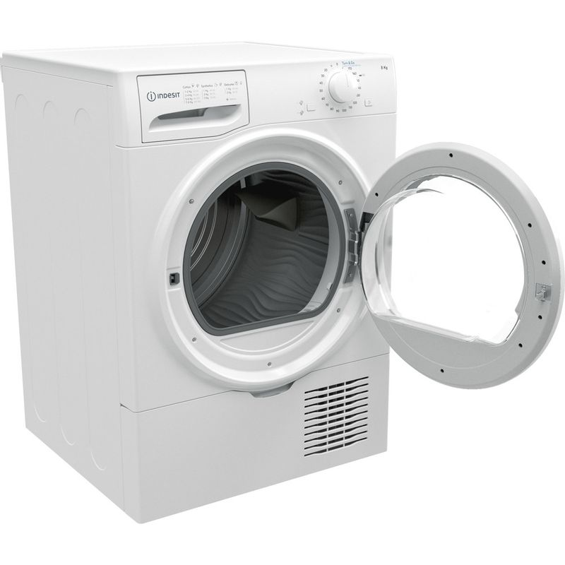 Indesit-Dryer-I2-D81W-UK-White-Perspective-open
