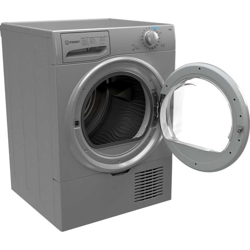 Indesit-Dryer-I2-D81S-UK-Silver-Perspective-open