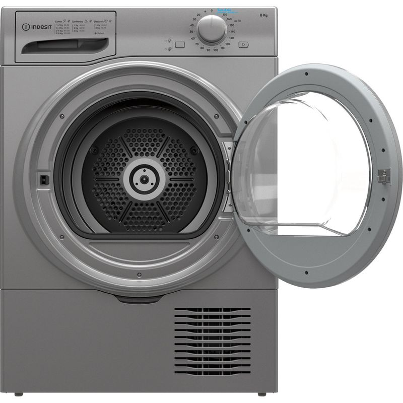 Indesit-Dryer-I2-D81S-UK-Silver-Frontal-open