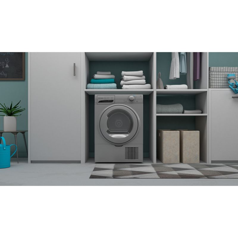 Indesit-Dryer-I2-D81S-UK-Silver-Lifestyle-frontal