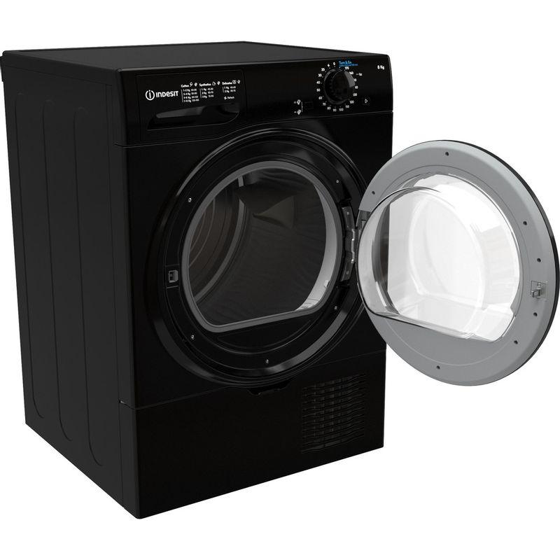 Indesit-Dryer-I2-D81B-UK-Black-Perspective-open