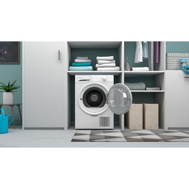 Indesit-Dryer-I2-D71W-UK-White-Lifestyle-frontal-open