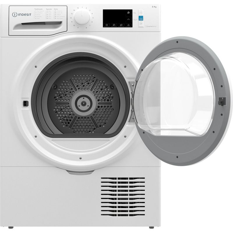 Indesit-Dryer-I3-D81W-UK-White-Frontal-open