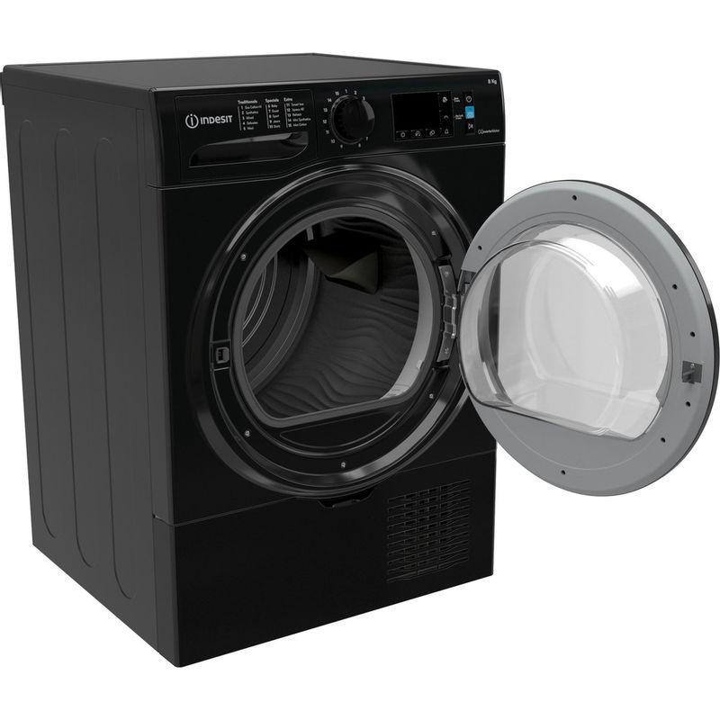 Indesit-Dryer-I3-D81B-UK-Black-Perspective-open