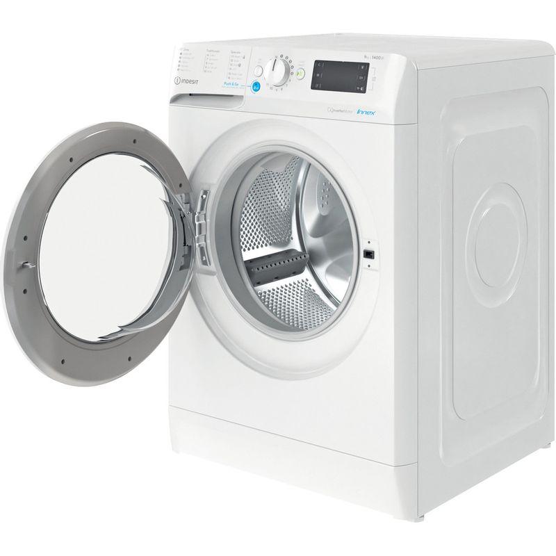 Indesit-Washing-machine-Free-standing-BWE-91485X-W-UK-N-White-Front-loader-B-Perspective-open