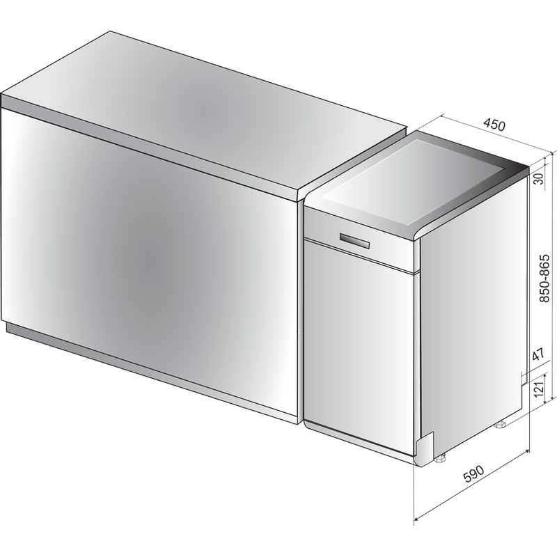 Indesit-Dishwasher-Free-standing-DSFE-1B10-UK-Free-standing-F-Technical-drawing